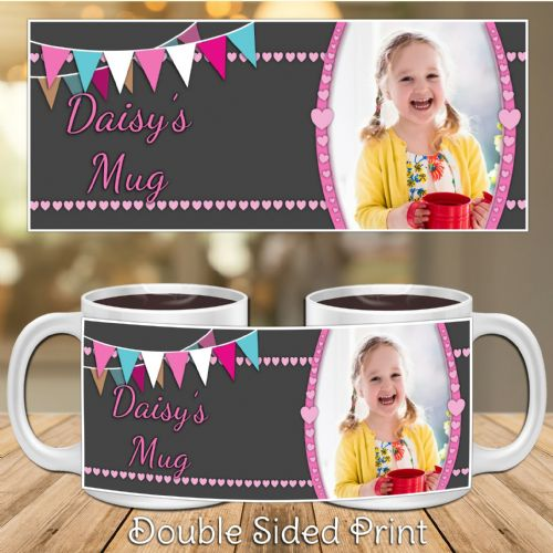 Personalised Girls Happy Birthday PHOTO Mug N43 Hearts & Bunting